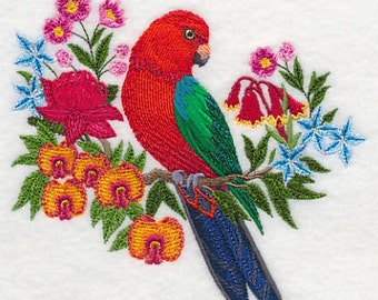 Australian King Parrot Embroidered Flour Sack Hand/Dish Towel