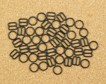 """12 Sets 3/8"""" Black Nylon Rings and Sliders for Bra Making and Lingerie Sewing 10mm Bra Adjusters Bramaking"""