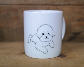 Hand painted animal mug cup - Cute mug cup - Coffee mug - Bichon Frise dog mug cup