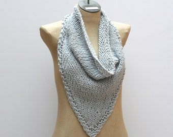 Ready to Ship: Hand Knit Bandana Scarf - Organic Cotton Scarf - Infinity Cowl - Bohemian Scarf - Fall Scarf - Oversized Bandana - Blue Scarf