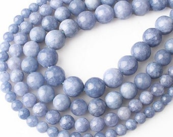 Angelite Blue Jade Natural Stone Beads - 60 pieces - 6mm - Jewelry Making