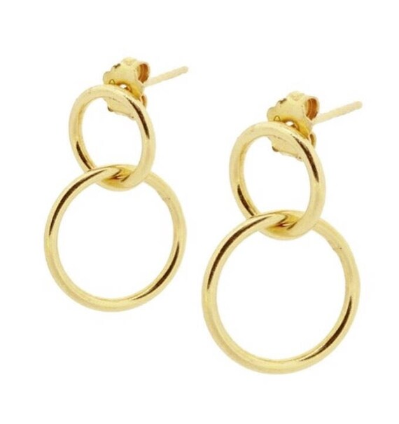 N3 Double rings Silver Earrings