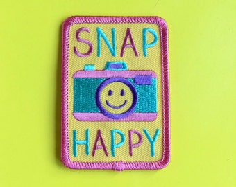 Camera Iron On Patch, Snap Happy Patch, Cute Pastel Patch, Shoot Film Patch, 35mm Patch, Fun Camera Patch, Pretty Patch, Camera Embroidered