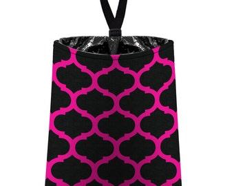 Car Trash Bag // Auto Trash Bag // Car Accessories // Car Litter Bag // Car Garbage Bag - Moroccan Trellis (black hot pink) // Car Organizer