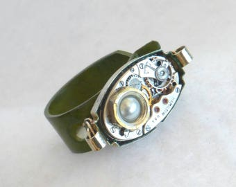 Steampunk Style Watch Movement Ring  SR56