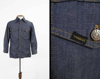Vintage 70s Sears Denim Shirt Roebucks Blue Jean Chamois Cloth Lining - Size Small