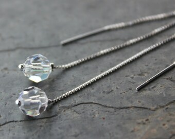 Crystal ball earrings - sparkly Swarovski crystals on sleek sterling silver ear threaders - free shipping USA