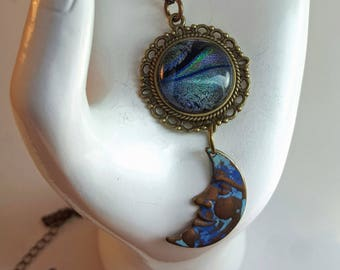 Mystic Moon - celestial themed fused glass cabochon pendant necklace with moon charm