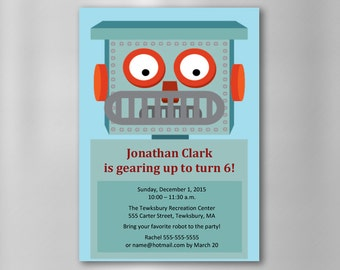 INSTANT DOWNLOAD Robot Birthday Invitation—Printable, Customizable MicroSoft Word Template—and Thank You Cards—Printable PDF