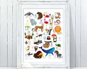 ABC Art Print|Woodland Alphabet Nursery Wall Art|Alphabet Poster|ABC Wall Art|Kids Room Decor|Animal Nursery Decor|Printable Woodland ABC