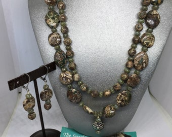 Autum jasper double strand gemstone necklace and earrings set