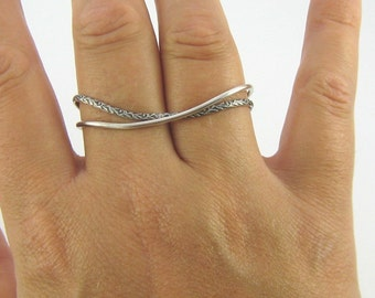 Sterling Silver Two Finger Rings.  Sterling Silver Two Finger Stacker Rings.  Double Finger Rings.  Handmade Jewelry by ZaZing