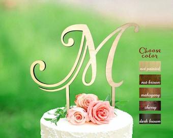 m cake topper, initial cake topper, cake toppers for wedding, rustic monogram, wedding cake toppers, letter m, wedding cake topper, CT#176