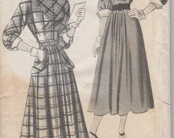 Bust 35-1940's Misses' Dress New York Pattern 525 Louise Scott Creation Sz 17
