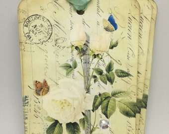 Gift Tags White Roses French Script Butterflies Tags Old World Decor French Style Decor Cottage Chic Decor Gift Wrap Embellishment