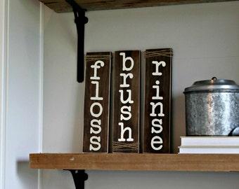 Bathroom Sign - Floss Brush Rinse - Bathroom Art - Rustic Home Decor - Bathroom Rules - Dental Decor - Dentist Gift - Wood Twine
