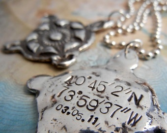 You Are Here, GPS Coordinates Compass Necklace, Eco Friendly Gifts, Sterling Silver Pendants, Latitude Longitude Jewelry, Romantic Gift