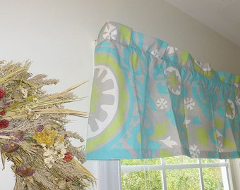Grey Window Valance - Grey Window Curtains  - Grey Valances - Suzani Grey, Turquoise and Green Window Valance 52 x 16