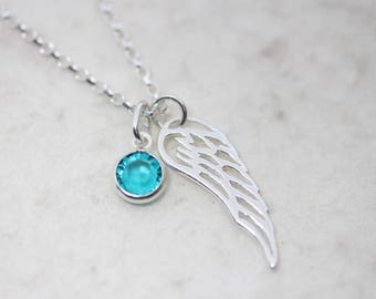 Sterling silver filigree angel wing birthstone necklace, Sterling silver angel wing necklace, memorial wing necklace, silver wing necklace