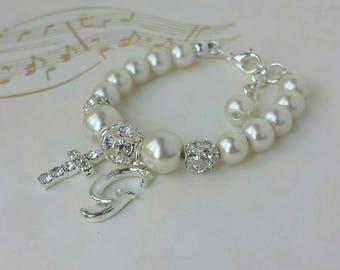 Personalized baby bracelet, baby bracelet, baby jewelry, baptism bracelet, christening bracelet, communion bracelet, flower girl bracelet
