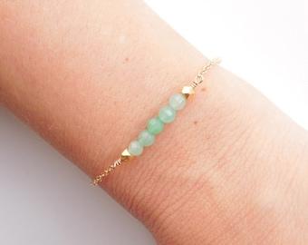 Green Jade Bracelet in Gold - A Best Seller