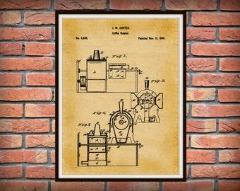 Patent 1846 Coffee Roaster - Wall Art Print - Kitchen Art- Poster - Restaurant Wall Art - Housewares - Coffee Shop Wall Art