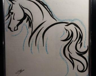 OOAK Original Colored Pencil Silhouette Horse Drawing
