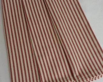 Red French Ticking tea towel, ticking tea towel, dish towel, Red Stripe towel,  stripe towel, country tea towel