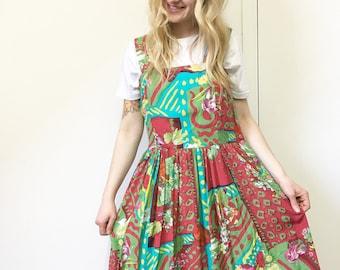Vintage Mini Dress, Retro 90s Dress, Pinafore Dress, Smock Dress, Retro Floral Dress, S