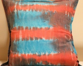 "Cushion Cover, 16"" Square Cushion Cover, Hand Dyed Cushion Cover, One of a Kind Cushion Cover, Pillow Cover, Throw Pillow Cover"