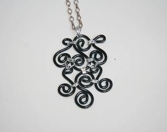 Black necklace - aluminum - handmade