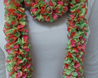 Fluffy, ruffled, colorful scarf.