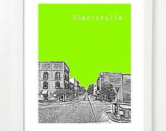 Clarksville Tennessee Art Print - Clarksville,TN City Skyline Poster - Downtown Clarksville