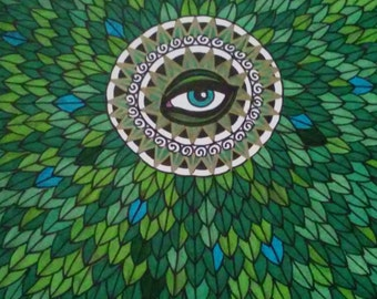 Green Leaves Blue Eye Pen and Ink Drawing