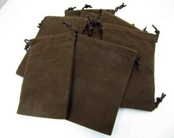 Pouches, Velour Bags, One Dozen, 3x4, Brown, Pendant Bags, Supply Bag, Medicine Bags, Treasure, Trinket, Chakra, Stone Bag