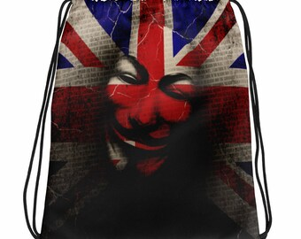 Guy Fawkes Union Jack British Flag Drawstring bag
