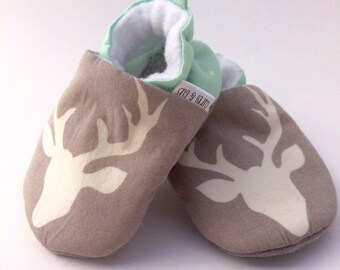 Gray Deer Handmade Baby Shoes, Mint Baby Shoes, Soft Sole Baby Shoes, Baby Booties,  Baby Moccasins, Crib Shoes, Toddler Slippers, Moccs