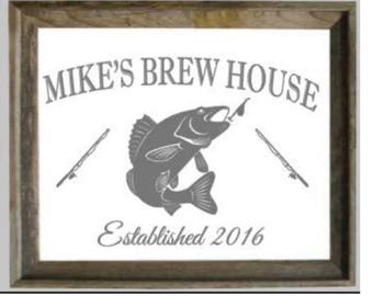 Custom Personalized Fishing Mirror, Large Mirror, Personalized Barn wood Mirror, Custom Engraved Mirror, Etched Mirror, 22x28 Mirror