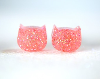 Brick Pink Glitter Cat earrings, Resin earrings , Surgical Steel Nickel Free Earrings