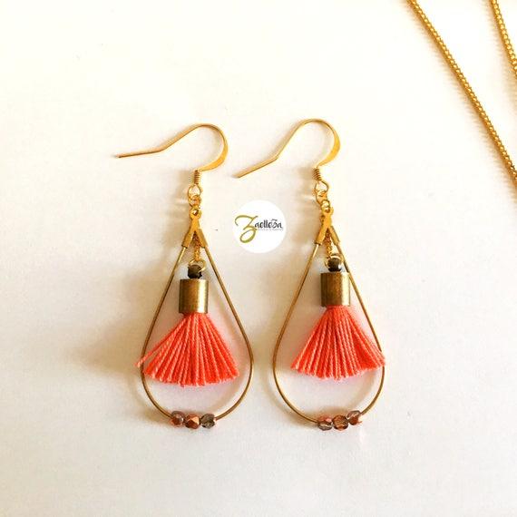 "Coral tassel earrings / drop gold / pearls-""Holi"" Coll.HOLI model / / Zaelleza - tangy / / elegant / / Bohemian / / hippie"