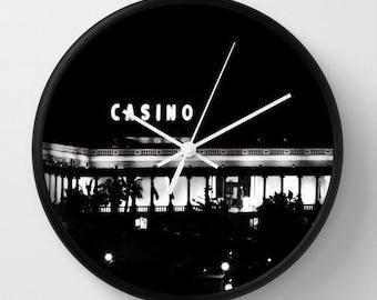 Casino Clock, Black Clock, Black and White Clock, Man Cave Clock, Gambler Gift, Gambling Gift, Casino Decor, Man Cave Decor, Manly Gift