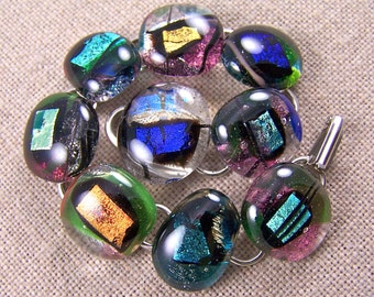 Dichroic Link Bracelet - Abstract Random Shapes in Clear Pebbles of Fused Glass - Silver Teal Green Blue Gold 3/4""
