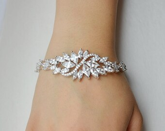 Bridal Cubic Zirconia Crystal Bracelet, Wedding Jewelry, Sterling Silver Extender Chain & Clasp, Gianna - Will Ship in 1-3 Business Days