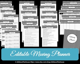 DARK BLUE EDITABLE Moving Planner Checklist Binder Printable Chevron Organize Home Binder Cover Box Label Divider Door Hanger Countdown pdf