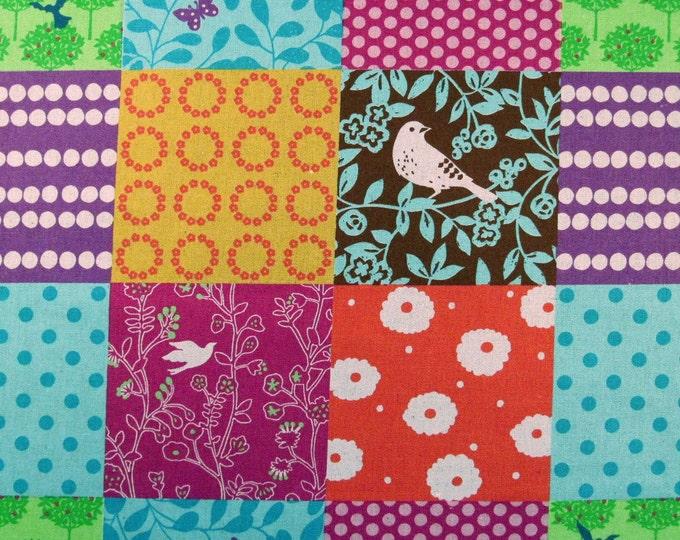Echino PATCHWORK, PURPLE/Aqua/Pink/TURQ Cotton Linen Japanese Fabric - Home Dec Weight