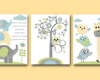 Owl Nursery Elephant Nursery Baby Boy Nursery Decor Children Art Print Baby Nursery Print Nursery Print set of 3 Tree Owl Blue Yellow