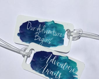 Adventure Watercolor Travel Tags - Luggage Tags