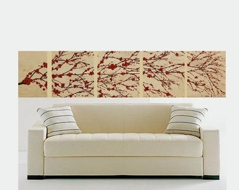 Original Modern Landscape Canvas Painting Red Beige Brown Flowers Textured Nature Multi Panel Set Made To Order