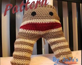 PATTERN - Crochet Monkey Toddler Pants PATTERN - Sock Monkey Pants - PDF Sock Monkey Pants - Toddler Sock Monkey Pants - by JoJo's Bootique