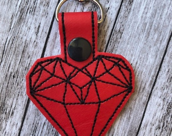 Geometric Heart Keychain - Key fob, Bag tag, lobster clasp, Snap Tab,  accessory